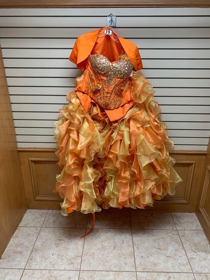 Da Vinci 46991 Burnt Orange/Gold Dress, Size 8