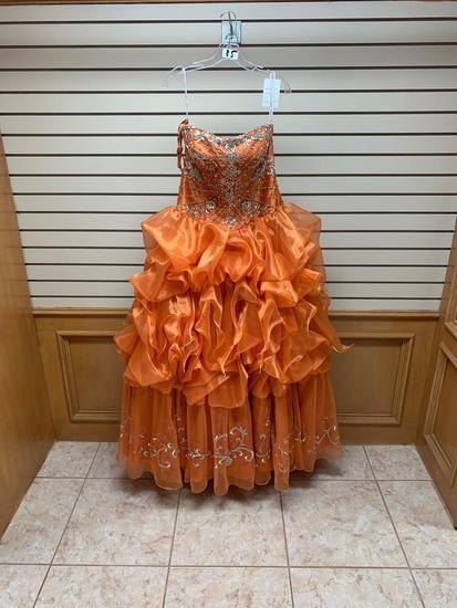 Da Vinci 46464 Orange Dress, Size 12