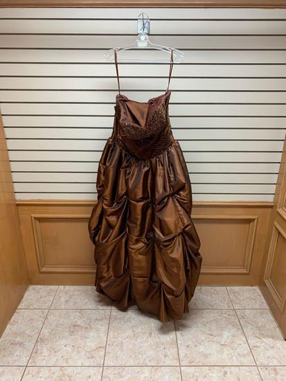 Mori Lee Coffee Bean Dress, Size 14
