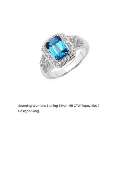 STUNNING WOMENS STERLING SILVER 1.95 CTW TOPAZ SIZE 7 DESIGNER RING