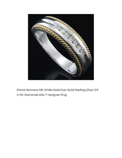 DIVINE WOMENS 14K WHITE GOLD OVER SOLID STERLING SILVER 1/4 CTW DIAMONDS SIZE 7 DESIGNER RING