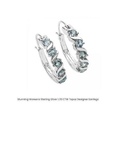 STUNNING WOMENS STERLING SILVER 1.20 CTW TOPAZ DESIGNER EARRINGS