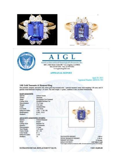 14K GOLD TANZANITE & DIAMOND RING