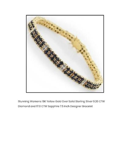 STUNNING WOMENS 18K YELLOW GOLD OVER SOLID STERLING SILVER 0.20 CTW DIAMOND AND 17.0 CTW