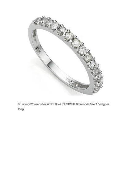 STUNNING WOMENS 14K WHITE GOLD 1/2 CTW DIAMONDS SIZE 7 DESIGNER RING