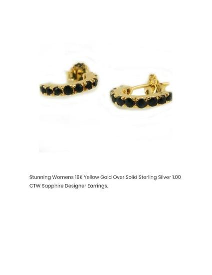 STUNNING WOMENS 18K YELLOW GOLD OVER SOLID STERLING SILVER 1.00 CTW SAPPHIRE DESIGNER EARRINGS