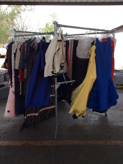 Group of dresses, pants, blouses and kids clothing
