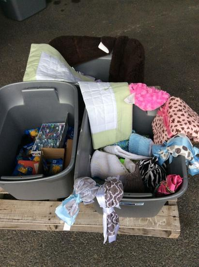 Lot of baby clothes and miscellaneous, 3 Boxes
