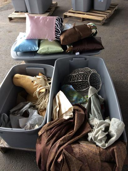 Group of pillows and bed skirts and miscellaneous, 3 Boxes