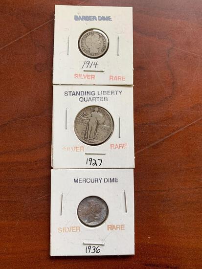 2-silver dimes and liberty quarter