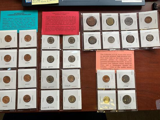 Group of coins, dimes, foreign, medallions