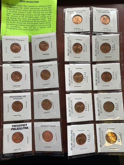 Group of coins Lincoln cents