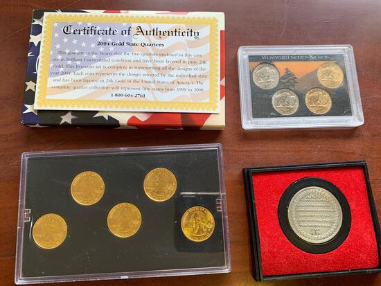 Baseball cards, set of coins