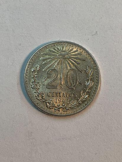 20 cent silver coins from Mexico, used to make a bracelet