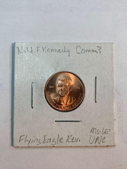Robert F. Kennedy commemorative coin, Flying eagle on reverse side, 1925-1968