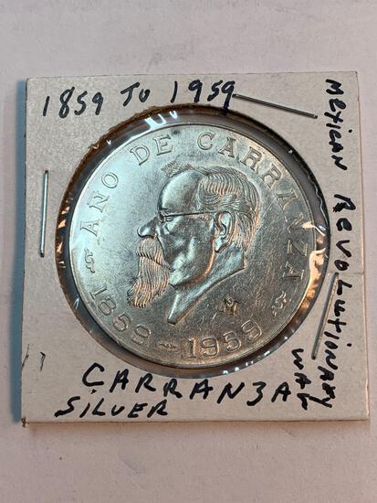 Caranza silver coin from 1859 to 1959, Mexican revolutionary War coin