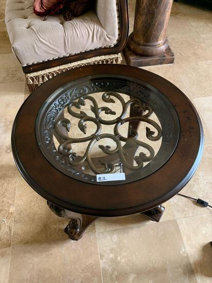 decorative round end table dark wood stain, cast iron with glass top