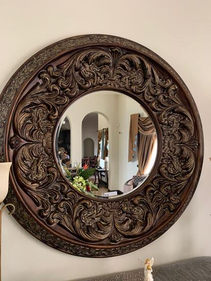 decorative rustic bronze rounded mirror
