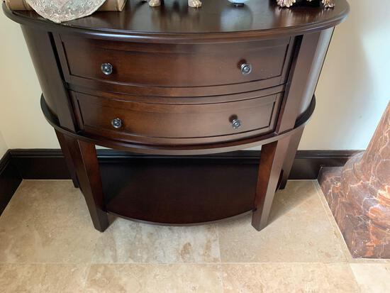 half round solid wood dark stain two drawer cabinets