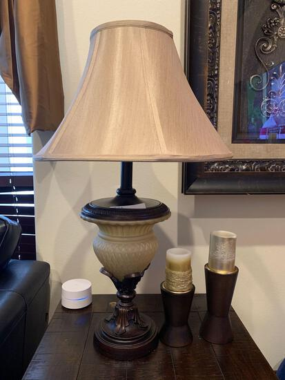 two rustic wood stain lamps and two light fixture candle holders
