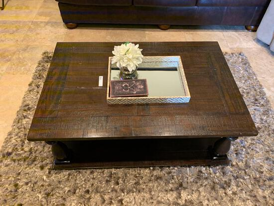 one custom cherry wood stain coffee table and two custom cherry wood stain end tables