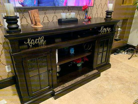 Custom cherry wood color entertainment center