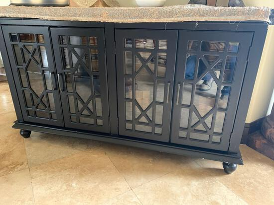four door hall cabinet with glass doors and wood stain