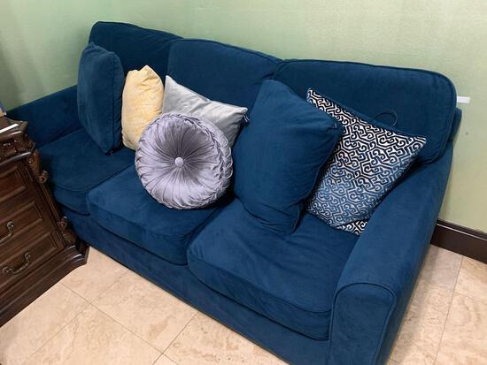 3 Person Blue Sofa