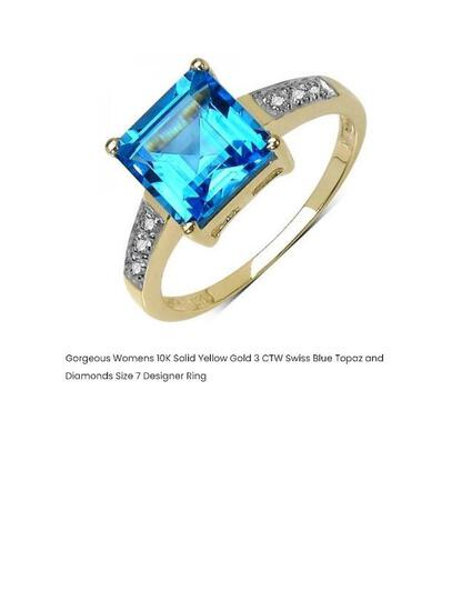 GORGEOUS WOMEN 10K SOLID YELLOW GOLD 3 CTW SWISS BLUE TOPAZ AND DIAMONDS SIZE 7 DESIGNER RING