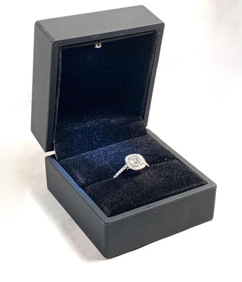 2.00 CTW Cushion Round Halo Diamond Color D Clarity SI1 Engagement Ring 14 Kt white Gold Center sto