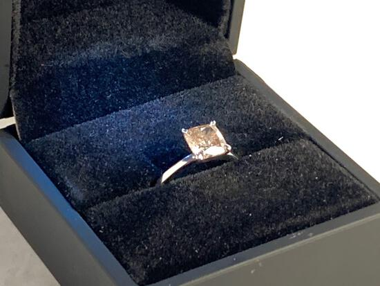 2.03 Ct Cushion Cut Color I Clarity I1 Solitaire Diamond Engagement ring 14 kt White Gold