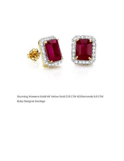STUNNING WOMENS SOLID 14K YELLOW GOLD 0.18 CTW 42 DIAMONDS 5.0 CTW RUBY DESIGNER EARRINGS