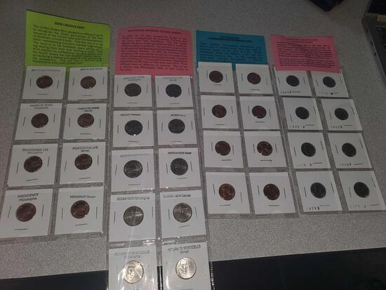 2009 Lincoln Cent,Westward Journey Nickels, US Treasury Comm Med, 8 Brilliant Uncir. Roosevelt Dimes
