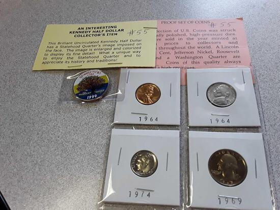 Interesting Kennedy Half Dollar Collector's Item, Proof Set of Coins
