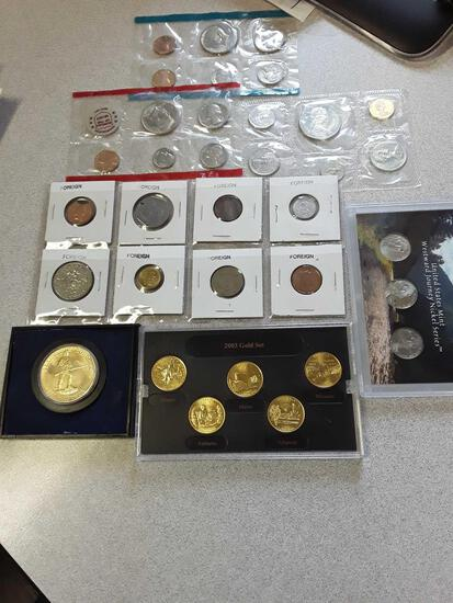 Assorted Coins, Lexington Concord Coin, 2003 Gold Set Quarters, Mint Sets, Nickels, Foreign Coins