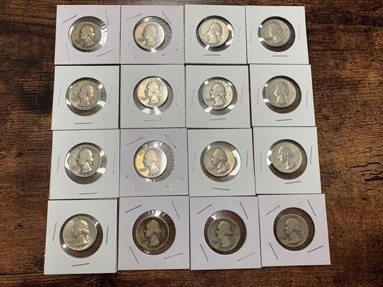 LOT OF (16) GEORGE WASHINGTON QUARTERS YEARS 1940-1950 SILVER COIN