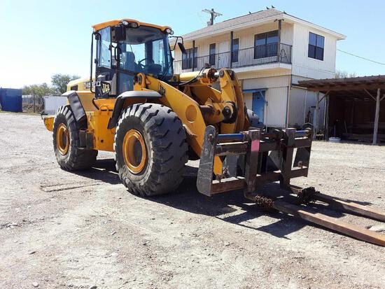 JCB 456 ZX Wheel Loader with Bucket & Forklift Attachments