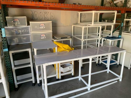 PVC carts, plastic bins and miscellaneous items