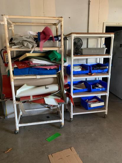Shelves with Misc. Items of Foam, Net Fabric, Bins, Fan, Etc.