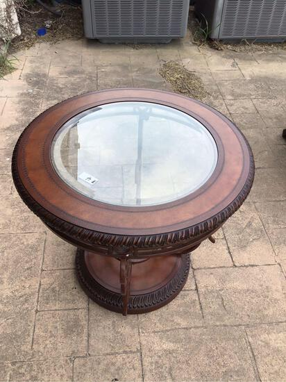 Round Wooden Table with Glass Top