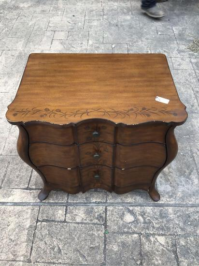 Wooden End Table with 3 Drawers
