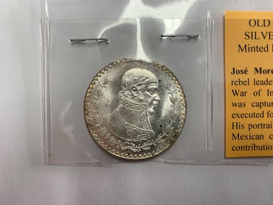 1965 Old Mexican Silver Dollar Minted from Silver