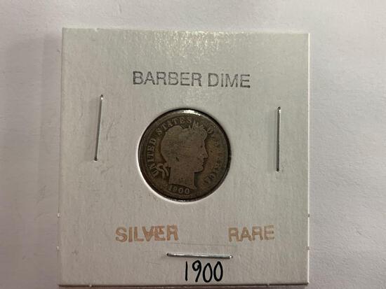 Silver rare 1900 Barber dime
