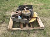 Pallet w/Tractor Rim Part, Implement Parts