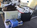 Computer Desk, File Cabinet, Centrifuge, Clock, Misc