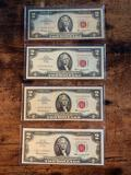 1963 (4) $2 red seal star note