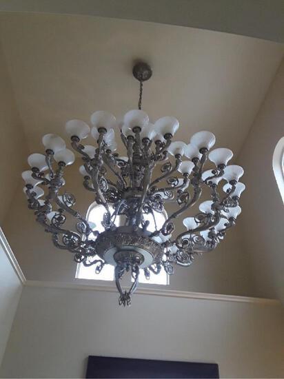 "Stunning Schonbek Custom Chandelier 80"" dia x 98"" h Antique Silver alabaste finish & 2 wall sconces"