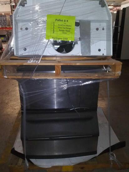 1 Small Manitowoc Ice Maker, Model# B170, 1 Glass Top Range, 1 Range Hood, 2 Vents