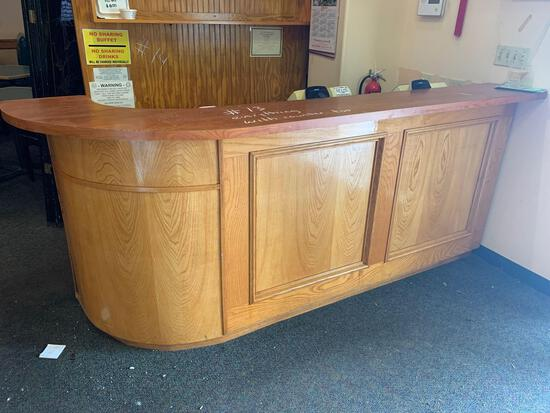 Wooden Counter w/ contents, (cash register, misc.)