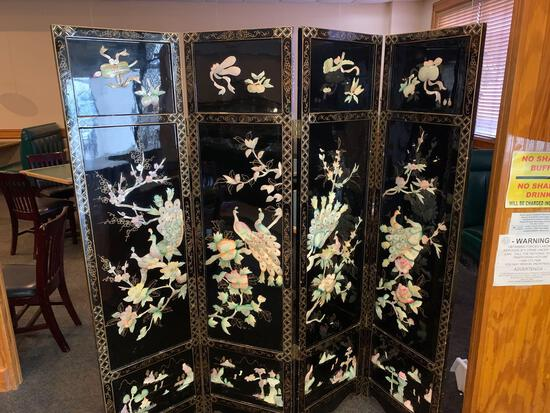 Black Folding Room Divider w/3-D Decor